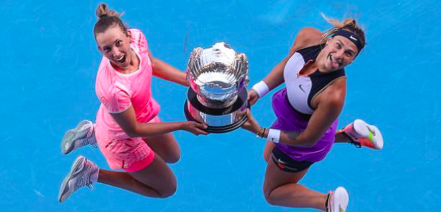 Elise Mertens y Aryna Sabalenka, campeonas del Open de Australia. Fuente: Getty