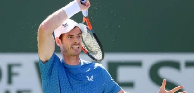 Andy Murray durante su choque ante Alcaraz en la pista 2 de Indian Wells. Foto: Getty
