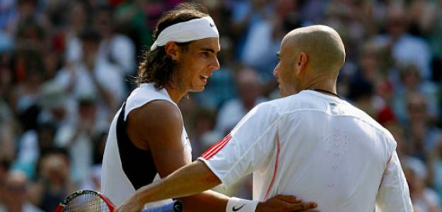 Nadal y Agassi en Wimbledon. Fuente: Getty