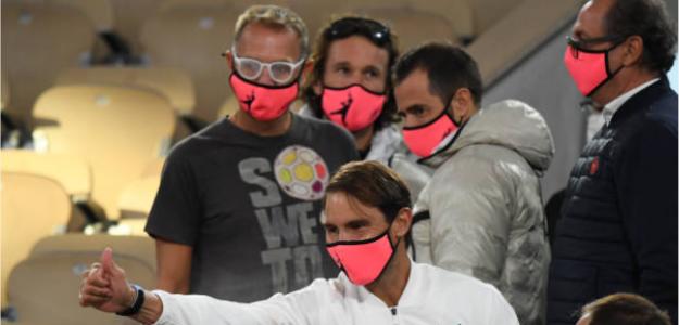 Nadal, con su equipo en Roland Garros. Fuente: Getty