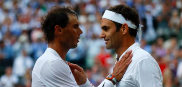 El saludo entre Rafa Nadal y Roger Federer. Fuente: Getty