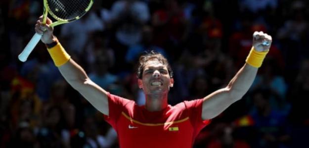 Nadal sale airoso ante Nishioka y da la victoria a España. Foto: Getty