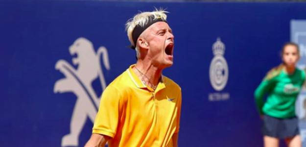 El grito de Nicola Kuhn tras ganar a Delbonis. Fuente: Barcelona Open Banc Sabadell