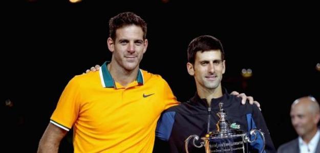 Del Potro y Djokovic. Foto: Getty