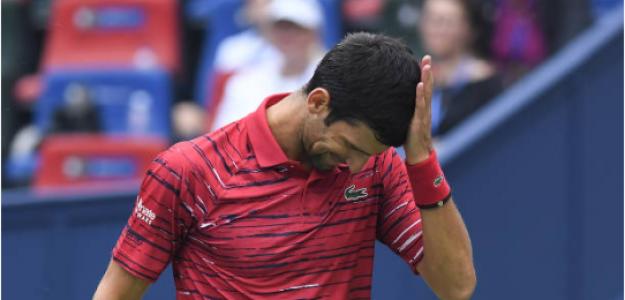 Novak Djokovic pierde en Shanghái 2019 con Stefanos Tsitsipas. Foto: gettyimages