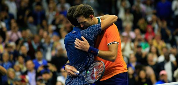 Novak Djokovic y Juan Martín Del Potro en US Open 2018. Foto: zimbio