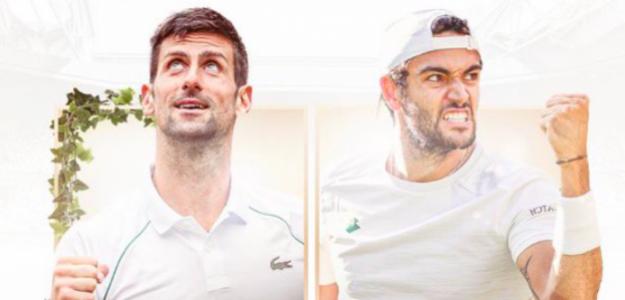 Novak Djokovic vs Matteo Berrettini. Fuente. Wimbledon
