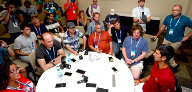 Novak Djokovic habla con la prensa en Cincinnati. Fuente: Getty