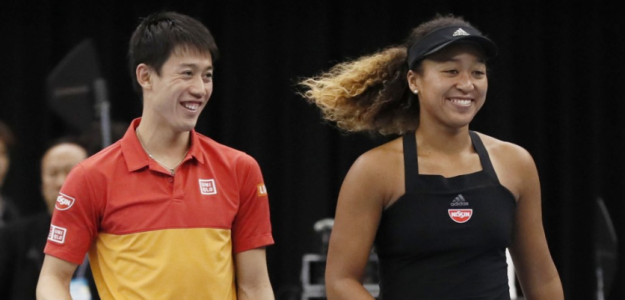 Kei Nishikori y Naomi Oasaka. Foto: WTA