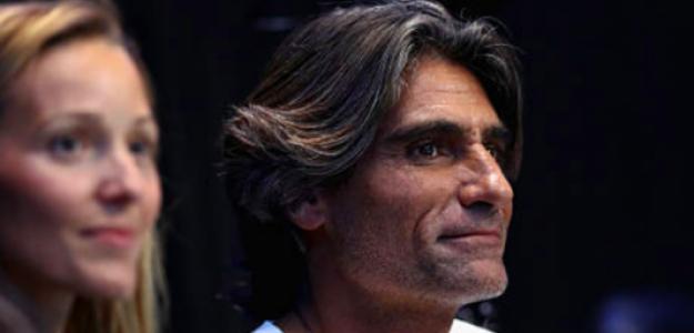 Pepe Imaz presenciando un partido de Novak Djokovic. Fuente: Getty