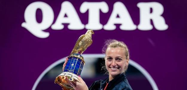 Petra Kvitova vuela alto en Doha. Fuente: Getty