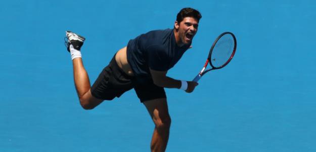 Mark Philippousis, durante un partido de Leyendas en el Open de Australia. Fuente: Getty