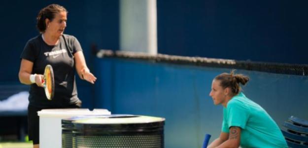 Conchita Martínez y Karolina Pliskova trabajan juntas en Nueva York. Fuente: WTA