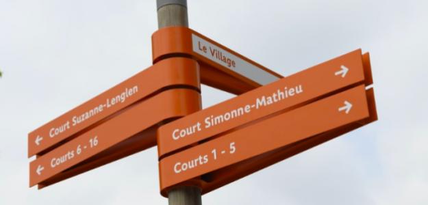 Señal de direcciones en Roland Garros 2019. Fuente: @rolandgarros