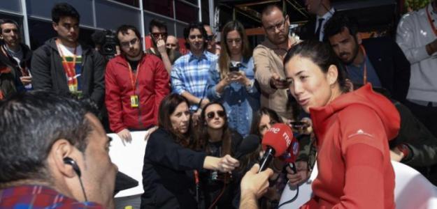 Garbiñe Muguruza atendiendo a la prensa. Fuente: Mutua Madrid Open