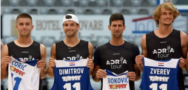 Los participantes en el Adria Tour, tras su partido de baloncesto. Fuente: Getty