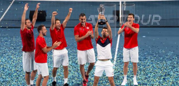 Serbia celebra su último título en la ATP Cup. Fuente: Getty