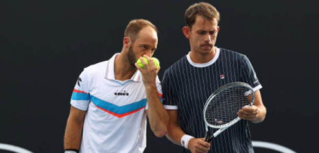 Tim Puetz, junto a su compañero de dobles Nielsen en el Open de Australia. Fuente: Getty