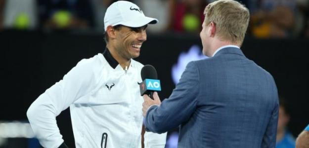Rafael Nadal lamentándose ante Klizan en su partido de Beijing