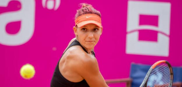 Rebeka Masarova durante un torneo la pasada temporada. Fuente: Getty