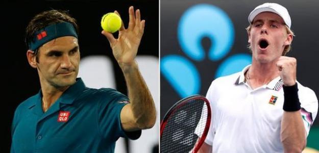 Roger Federer y Denis Shapovalov. Foto: Daily Express