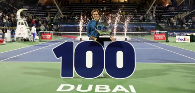 Roger Federer en Dubai 2019, 100 títulos. Foto: zimbio