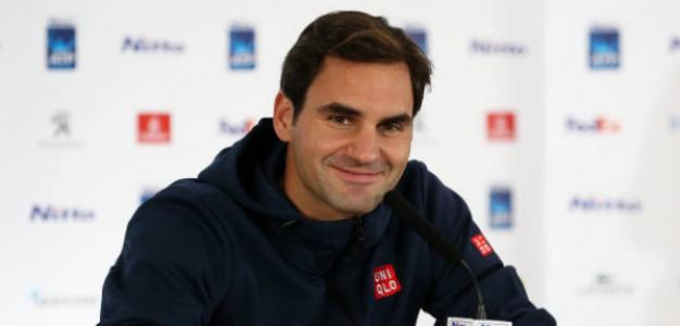 Roger Federer atendiendo a la prensa en el Media Day en Londres. Foto: Getty