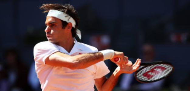 Roger Federer durante su partido ante Monfils. Foto: Getty