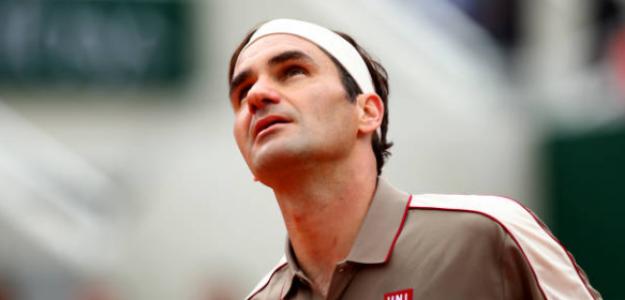 Roger Federer durante su partido ante Sonego. Foto: Getty
