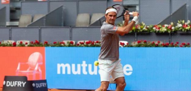 Roger Federer entrenando en la Pista Manolo Santana. Fuente. MMO