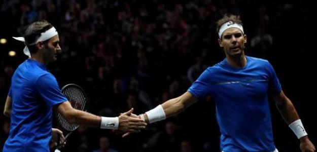 Roger Federer junto a Rafael Nadal en la Laver Cup 2017. Foto: Getty Images
