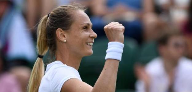 Magdalena Rybarikova celebra en Wimbledon. Fuente: Getty