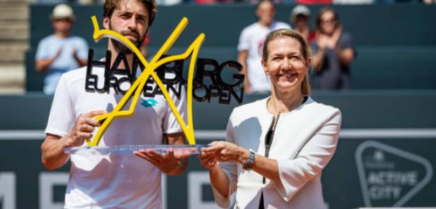 Sandra Reichel junto al campeón, Nikoloz Basilashvili. Fuente: Getty