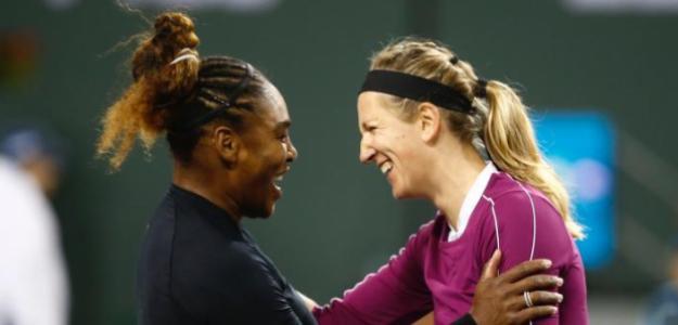 Máxima complicidad en la red entre Serena y Victoria. Fuente: BNP Paribas Open