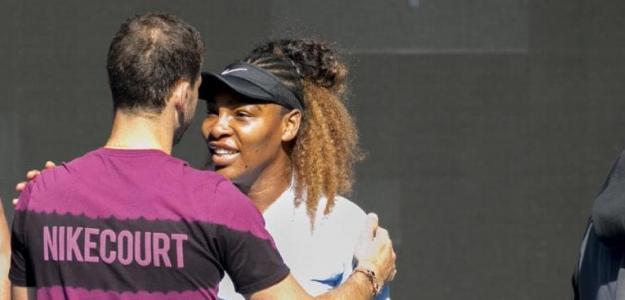 Serena Williams y Grigor Dimitrov entrenando juntos. Foto: zimbio