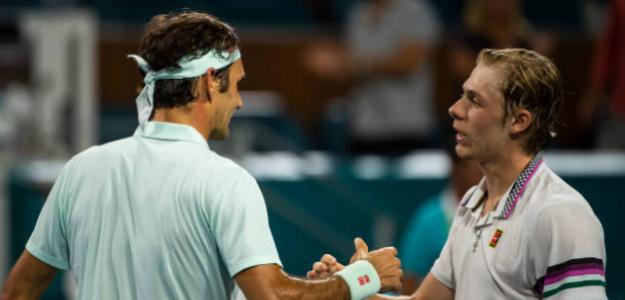 Federer y Shapovalov en Miami. Foto: Getty