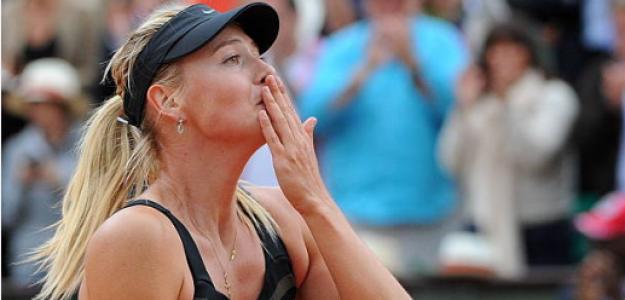 Sharapova celebra tras proclamarse campeona en Roland Garros, 2012. Fuente: Getty
