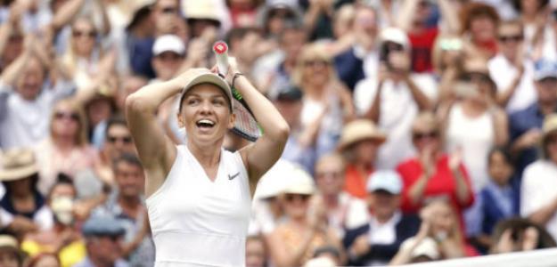 Simona Halep, tras proclamarse campeona de Wimbledon 2019. Fuente: Getty