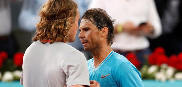 Stefanos Tsitsipas y Rafael Nadal en Mutua Madrid Open 2019. Foto: zimbio