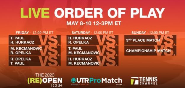 El orden de juego de este torneo. Fuente: Tennis Channel