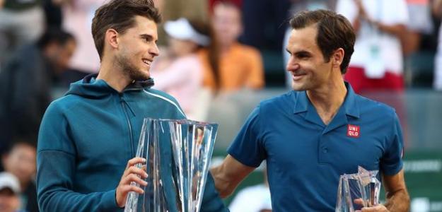 Dominic Thiem y Roger Federer en Indian Wells 2019. Foto: zimbio