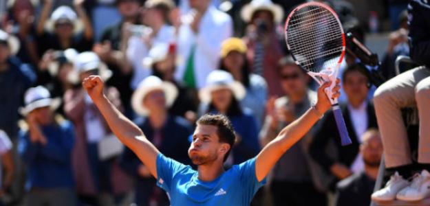 Thiem celebra la victoria ante Djokovic. Foto: Getty