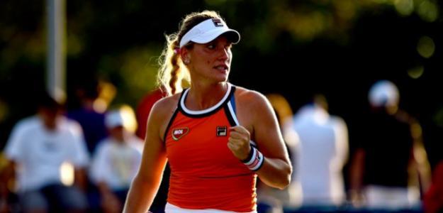 Timea Babos en acción en el US Open. Fuente: WTA