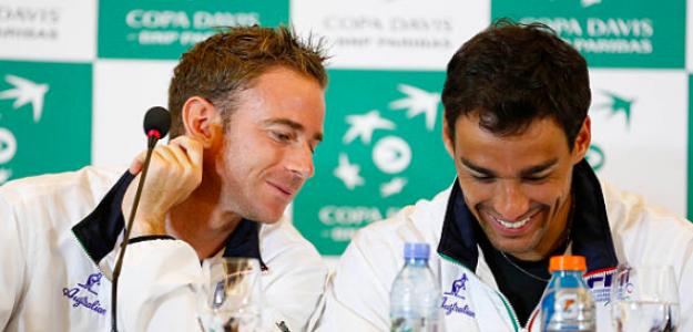Volandri y Fognini durante una serie de Copa Davis. Fuente: Getty